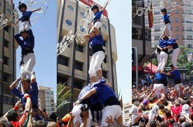 Tres figures de la Muixeranga d'Alacant a la II Diada Muixeranguera. Juny de 2016.